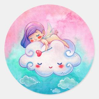 Niedlicher Engel-u. Wolken-Aufkleber Runder Aufkleber