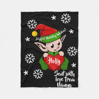 Niedlicher Feiertags-Elf-personalisierte Fleecedecke