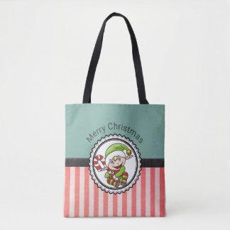 Niedlicher festlicher Elf mit Zuckerstange-frohen Tasche