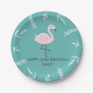 Niedlicher Flamingo-personalisierte Pappteller