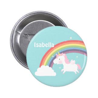 Niedlicher Fliegenunicorn-Regenbogen für Mädchen Runder Button 5,1 Cm