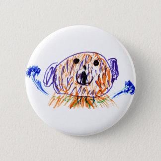 Niedlicher flockiger Teddybär gezeichnet von einem Runder Button 5,7 Cm