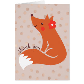 """Niedlicher Fox mit Blume """"danken Ihnen """" Karte"""
