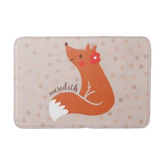 Niedlicher Fox mit Blume/erröten Badematte