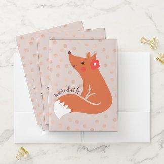 Niedlicher Fox mit Blume/erröten Bewerbungsmappe