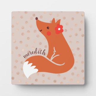Niedlicher Fox mit Blume/erröten Fotoplatte