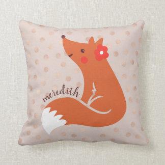 Niedlicher Fox mit Blume/erröten Kissen