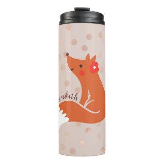 Niedlicher Fox mit Blume/erröten Thermosbecher