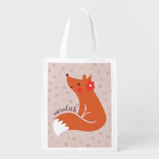 Niedlicher Fox mit Blume/erröten Wiederverwendbare Einkaufstasche