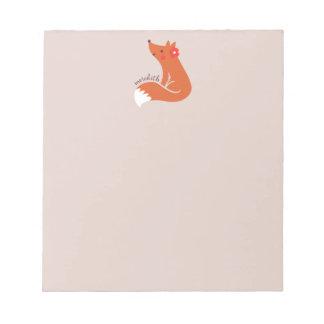 Niedlicher Fox mit Blume Notizblock