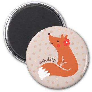 Niedlicher Fox mit der Blume personalisiert Runder Magnet 5,1 Cm