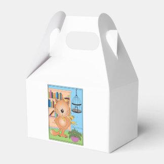 Niedlicher frecher Kitty-Katzen-Cartoon und Freund Geschenkkartons