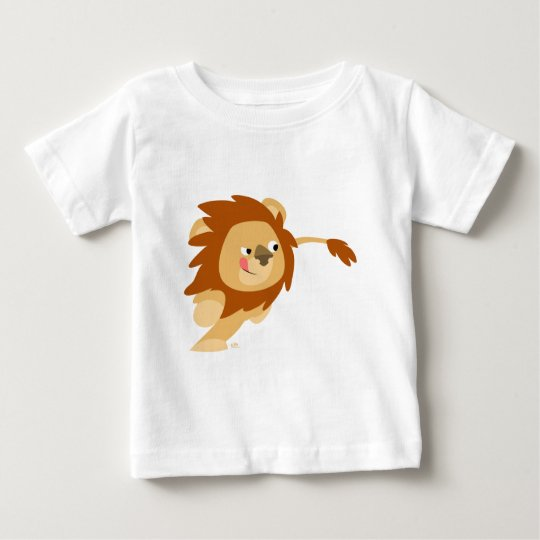 Niedlicher galoppierender Cartoon-Löwe-Baby-T - Baby T-shirt