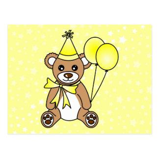 Niedlicher Geburtstagteddy-Bär - Gelb Postkarte