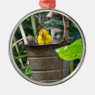 Niedlicher, gelber Vogel, der in einem Eimer badet Silbernes Ornament