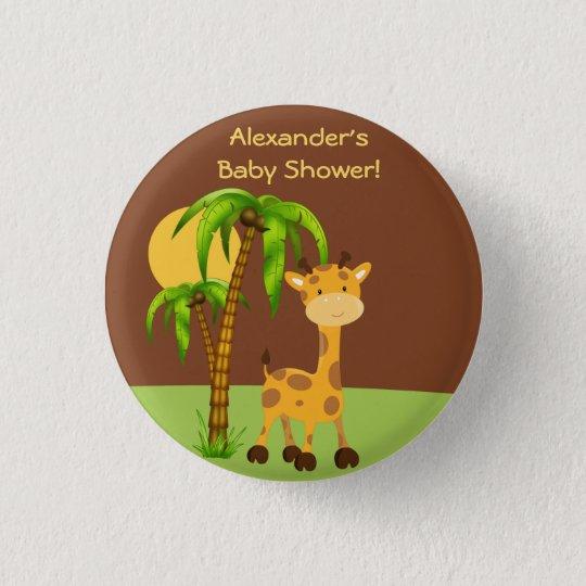 Niedlicher Giraffen-Baby-Duschen-Knopf Runder Button 3,2 Cm