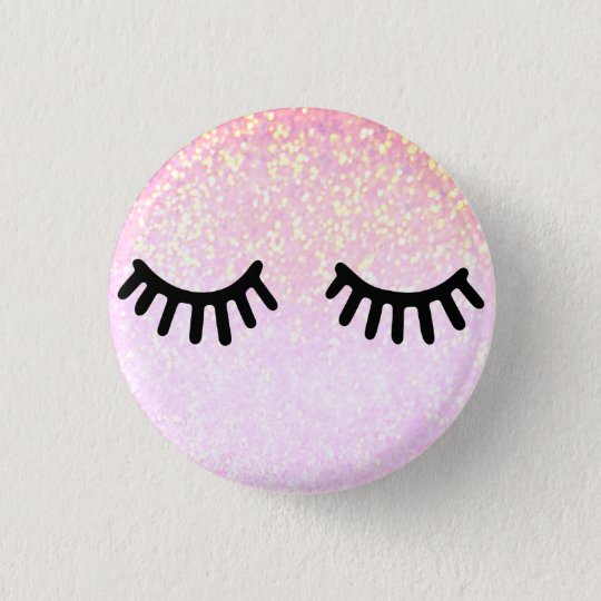 niedlicher girly Cartoon peitscht auf rosa Glitter Runder Button 2,5 Cm