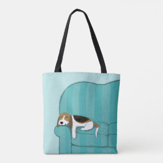 Niedlicher glücklicher Couch-Hund des Beagle-| Tasche