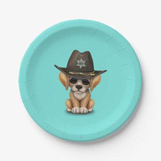 Niedlicher goldener Retriever-Welpen-Hundesheriff Pappteller