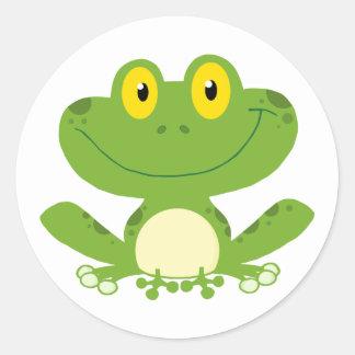 Niedlicher grüner Frosch Runder Aufkleber