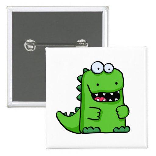 Niedlicher grüner glücklicher Dinosaurier Button