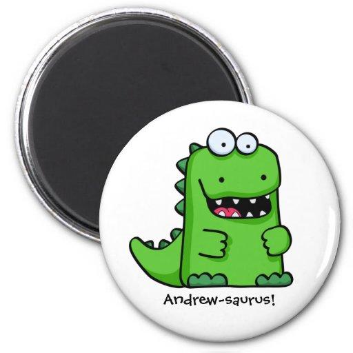Niedlicher grüner glücklicher Dinosaurier Kühlschrankmagnete