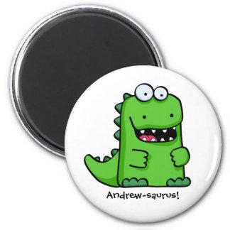 Niedlicher grüner glücklicher Dinosaurier Runder Magnet 5,7 Cm