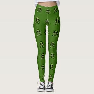 Niedlicher grüner Schädel Leggings