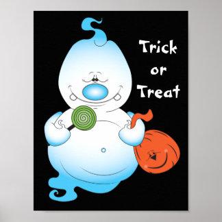 Niedlicher Halloween-Geist-Cartoon Poster