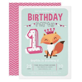 Niedlicher heißes Rosa-erster Geburtstag 12,7 X 17,8 Cm Einladungskarte