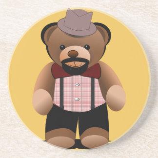 Niedlicher Hipsterteddy-Bär mit Bart Untersatz
