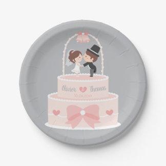 Niedlicher Hochzeits-Kuchen-Deckel-Braut-und Pappteller