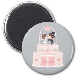 Niedlicher Hochzeits-Kuchen-Deckel-Braut-und Runder Magnet 5,7 Cm
