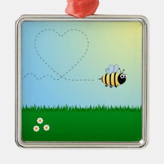 Niedlicher Hummelbienen-Cartoon Quadratisches Silberfarbenes Ornament