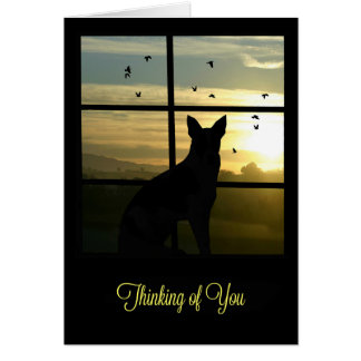 Niedlicher Hund im Fenster denkend an Sie Karte