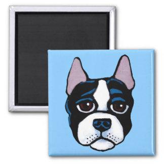 Niedlicher Hund, Terrierwelpe Bostons Stier Quadratischer Magnet