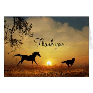 Niedlicher Hunde-und Pferdebetrieb danken Ihnen zu Grußkarte