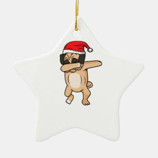 Niedlicher Hundeklecks mit Weihnachtsmannmütze Keramik Ornament