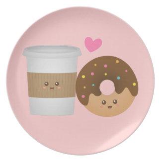 Niedlicher Kaffee und Krapfen in der Liebe, Essteller