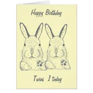 Niedlicher Kaninchen-Zwillings-Geburtstag Karte