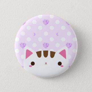 Niedlicher Katzen-Knopf mit lila Herzen und Monden Runder Button 5,1 Cm