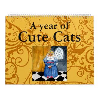 Niedlicher Katzenillustrationskalender Abreißkalender