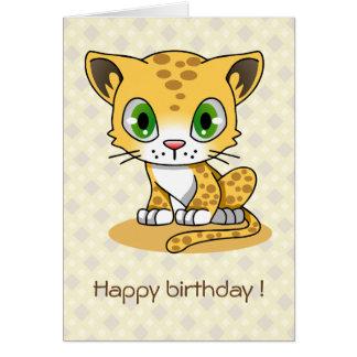 Niedlicher Katzenleopard-Cartoon-Kindergeburtstag Karte
