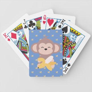 Niedlicher Kawaii Affe mit Bananen-Spielkarten Bicycle Spielkarten