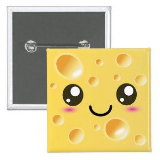 Niedlicher Kawaii glücklicher Käse Quadratischer Button 5,1 Cm