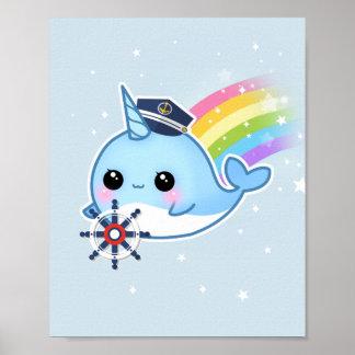 Niedlicher kawaii Kapitän narwhal mit Regenbogen Poster