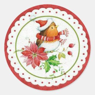 Niedlicher kleiner Birdie-tragende Weihnachtskappe Runder Aufkleber