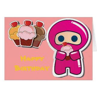 Niedlicher kleiner Kuchen Ninja- rosa Karte