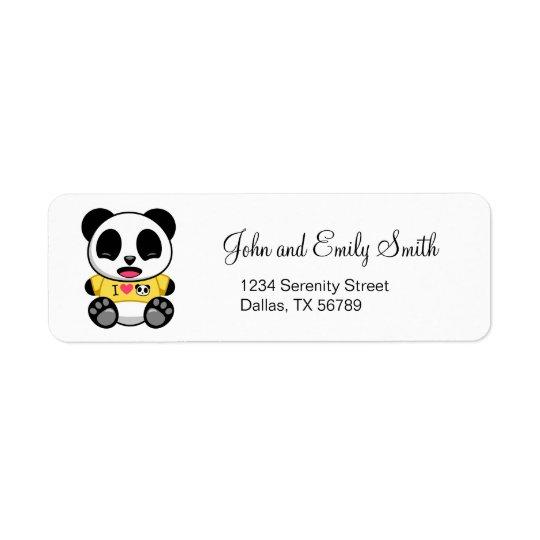 Niedlicher kleiner Panda Rückversand-Adressaufkleber