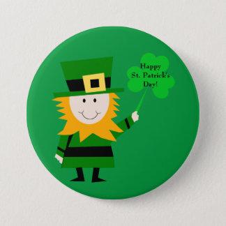 Niedlicher Kobold mit Klee-St Patrick TagesButton Runder Button 7,6 Cm
